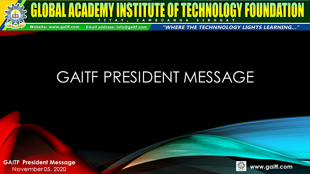GAITF President's Message to all GAITF Stakeholders, November 02, 2020.