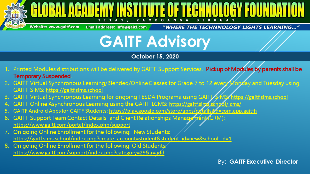 GAITF Advisory dated October 15, 2020
